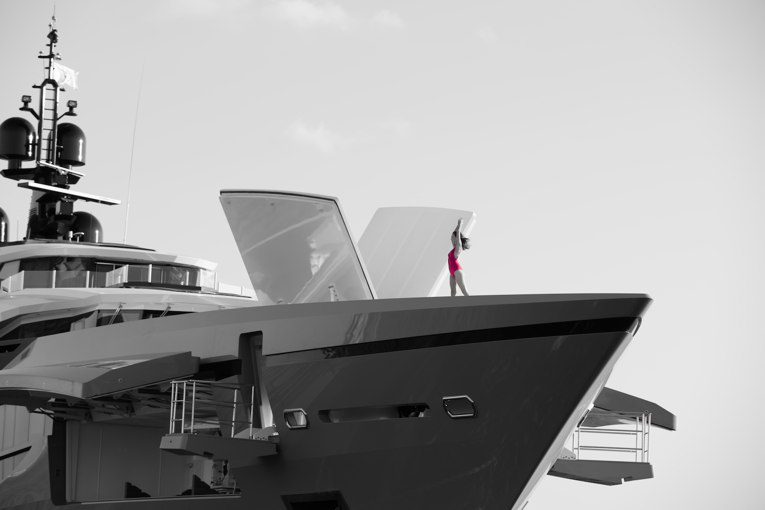 Model On The Bow Of The Yacht