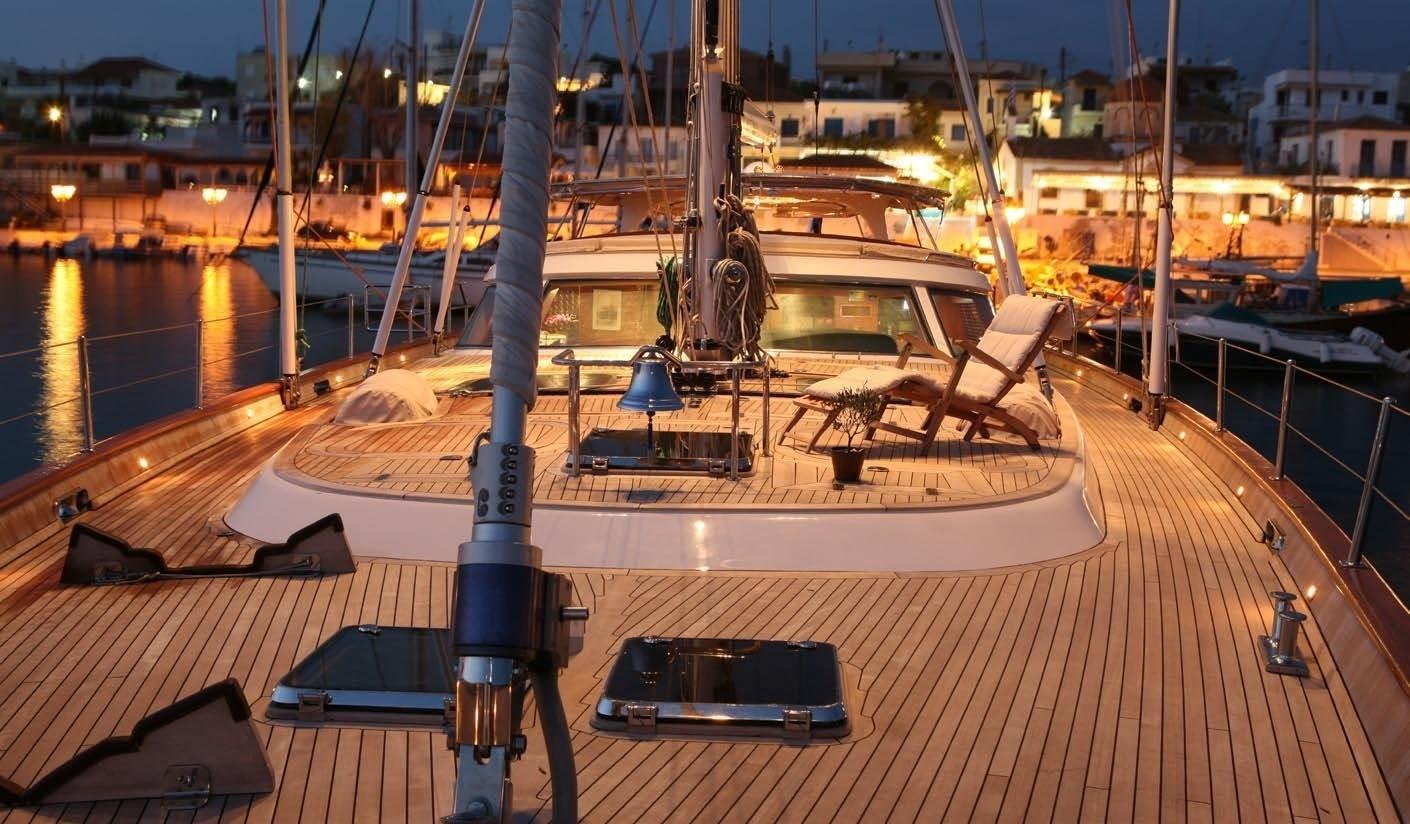Evening: Yacht GITANA's Deck Captured