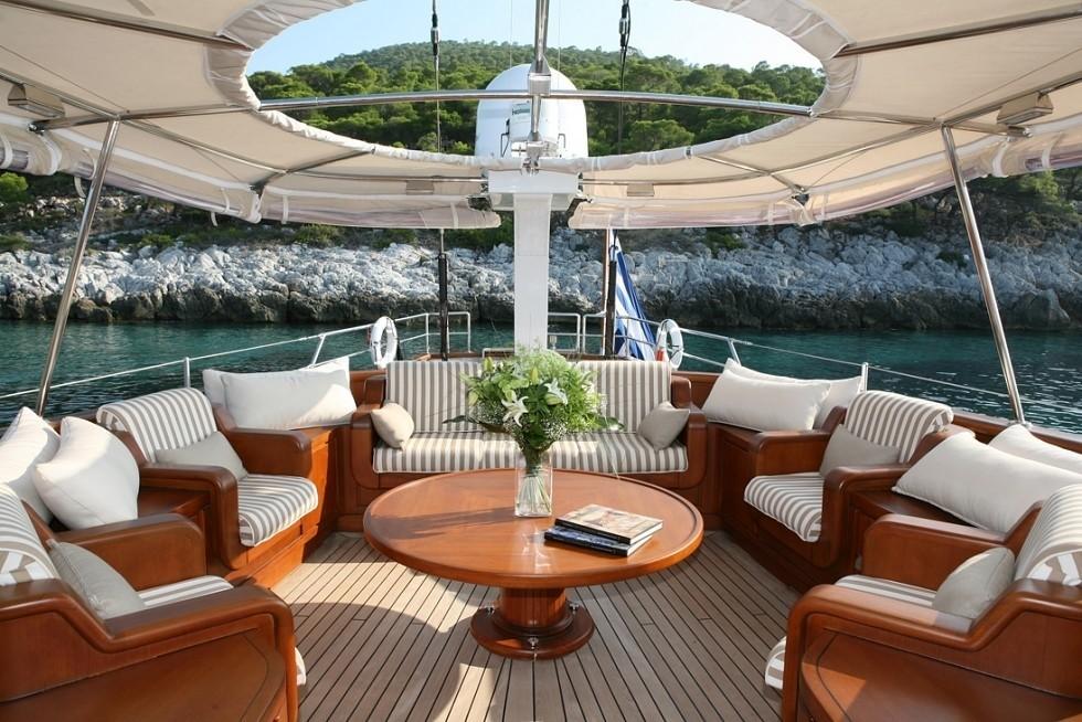 Aft Deck Sitting On Board Yacht GITANA