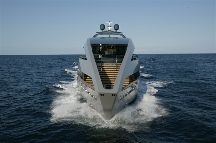 Ship's Bow: Yacht OCEAN EMERALD's Cruising Pictured