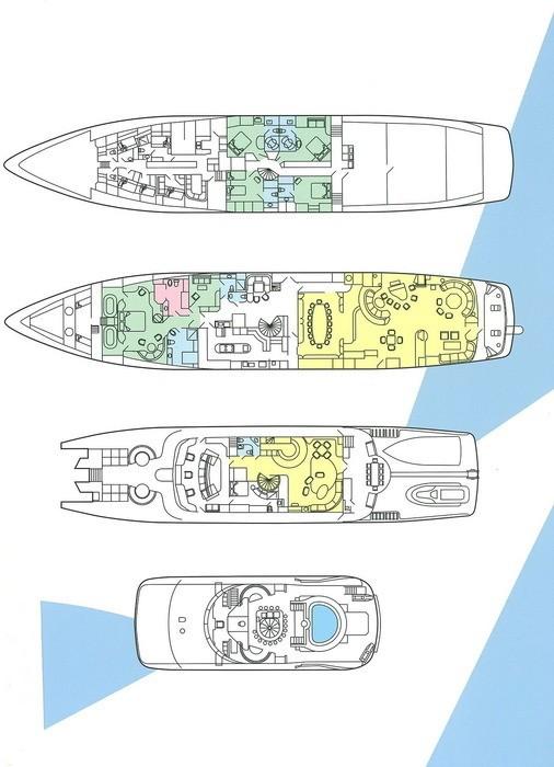 Deck Plans / Map Aboard Yacht FAM