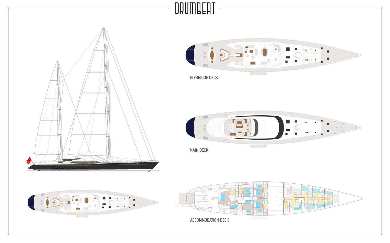 Yacht DRUMBEAT - Alloy Yachts - General Arrangement