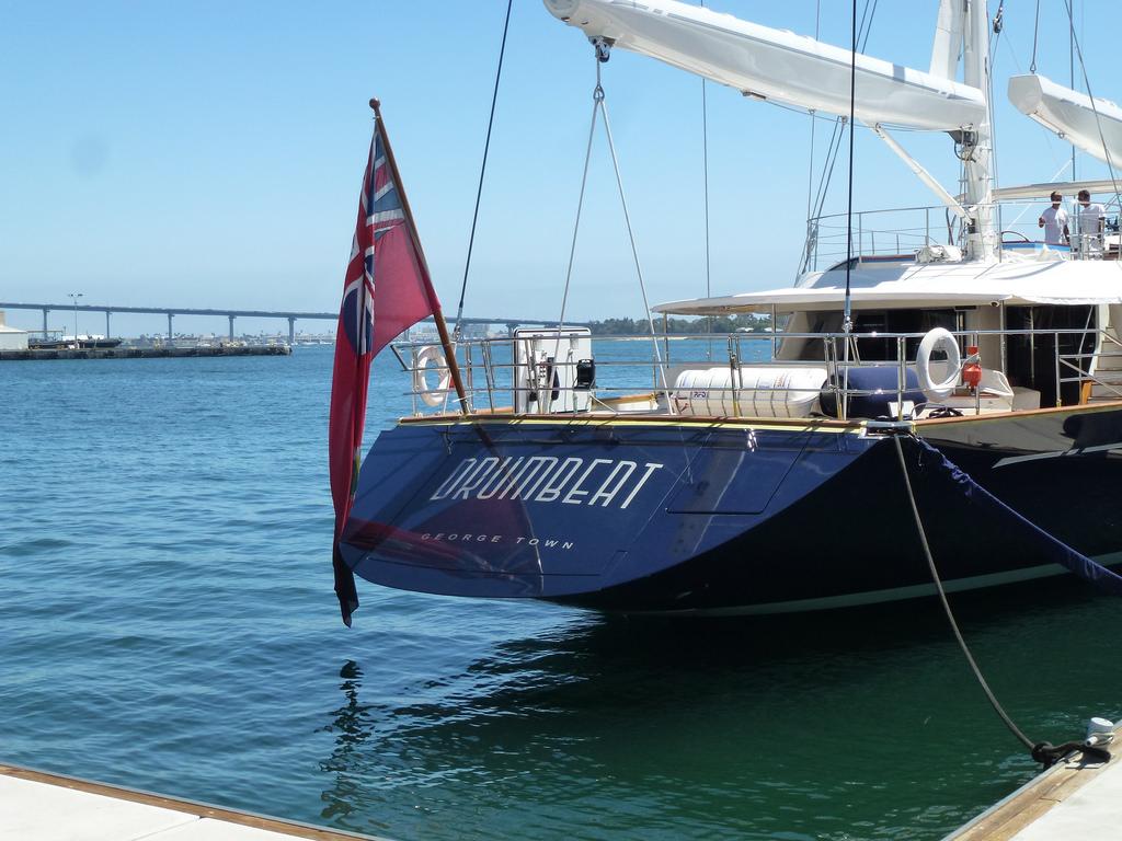 Yacht Drumbeat Moored In San Diego