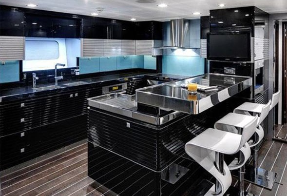 Ship's Galley On Yacht BLISS
