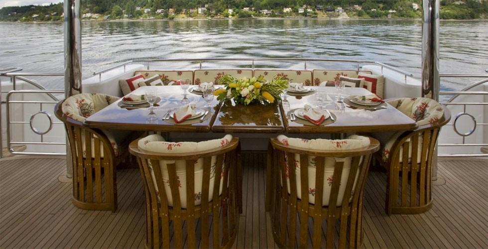 External Eating/dining Aboard Yacht MILK MONEY
