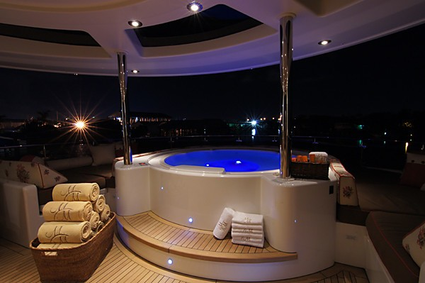 Evening: Yacht MILK MONEY's Jacuzzi Pool Captured