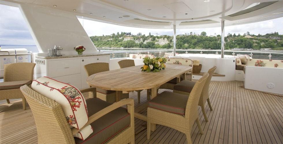 Sun Deck Eating/dining Aboard Yacht MILK MONEY