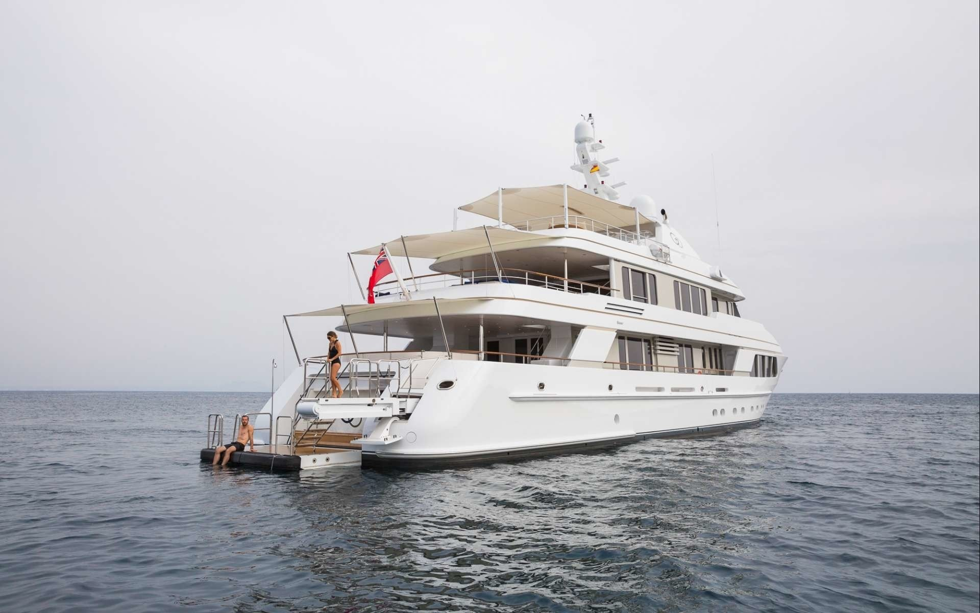 The 43m Yacht GO - Stern shot and swim platform