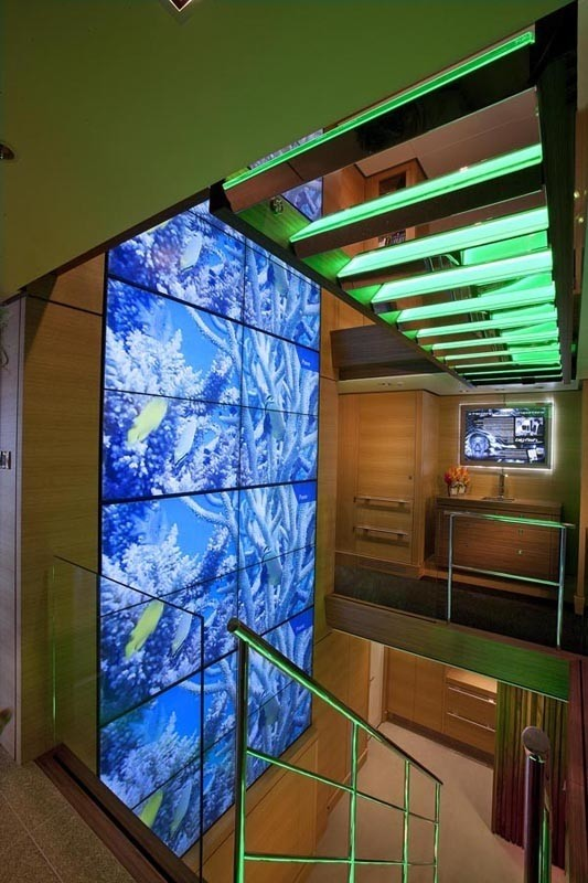 Premier Deck Video Wall Staircase On Yacht BIG FISH