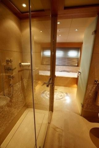 Main Master Bathroom With Showering Aboard Yacht ALKHOR