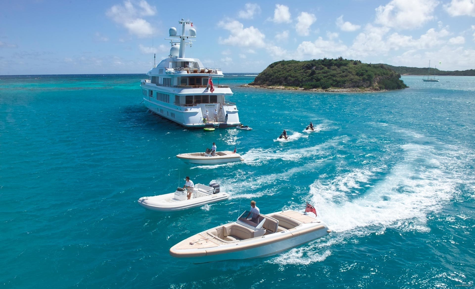 Aft Aspect Including Ship's Tenders On Board Yacht HUNTRESS II