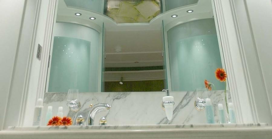 Mirror: Yacht ELEGANT 007's Guest's Bath Pictured