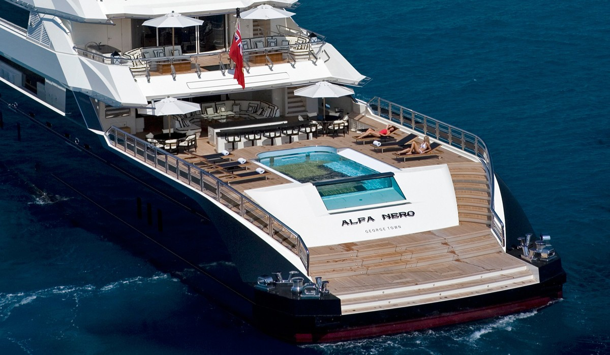 Aft Aspect Of Swimming Pool On Yacht ALFA NERO
