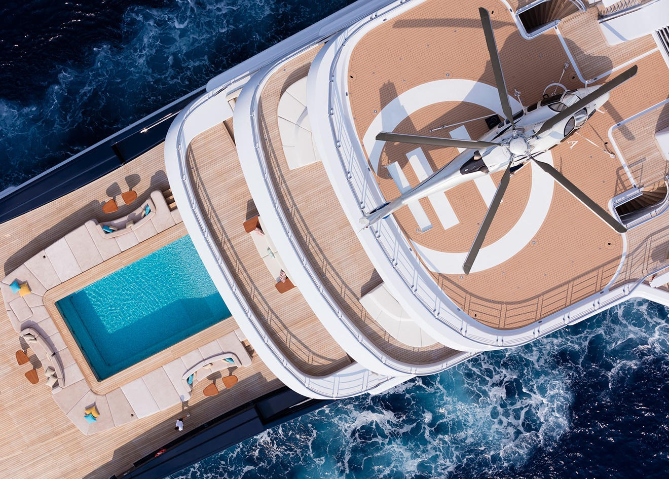 Superyacht Luna by Lloyd Werft Aerial View With Helicopter and Pool
