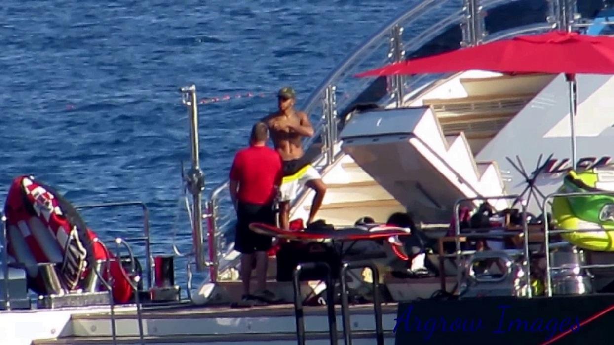 Lewis Hamilton Swimming In The Pool Of ALFA NERO
