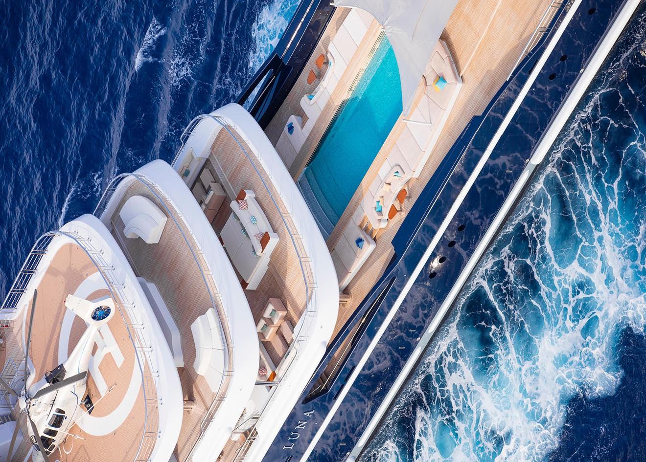 Superyacht Luna by Lloyd Werft Aft Deck with chopper