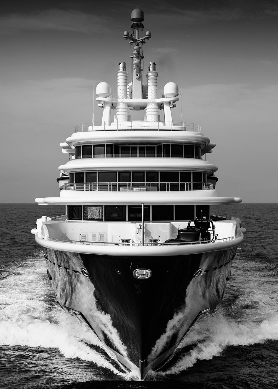 Superyacht Luna by Lloyd Werft Bow in Black & White
