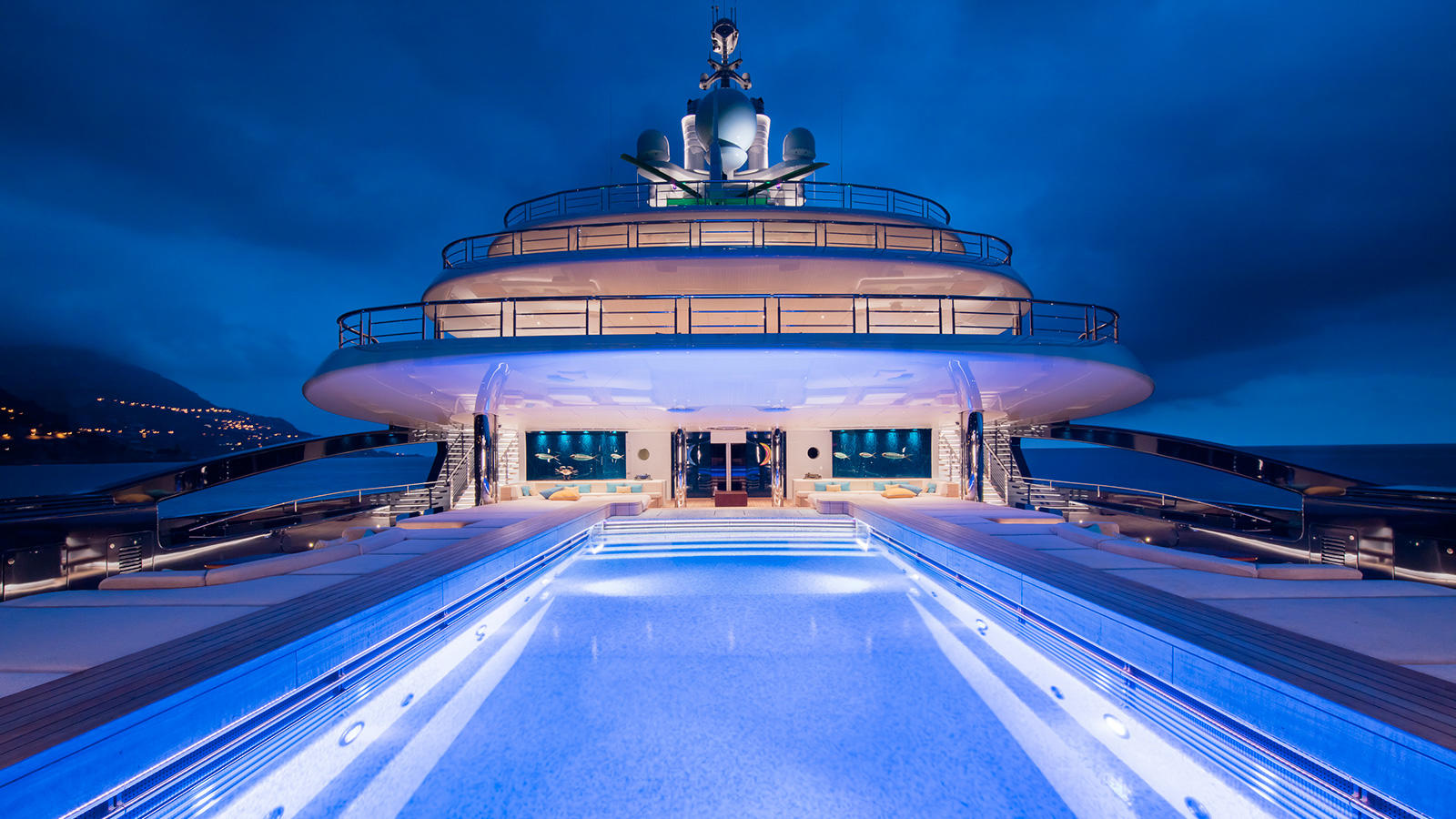 Superyacht Luna by Lloyd Werft - Pool At Night