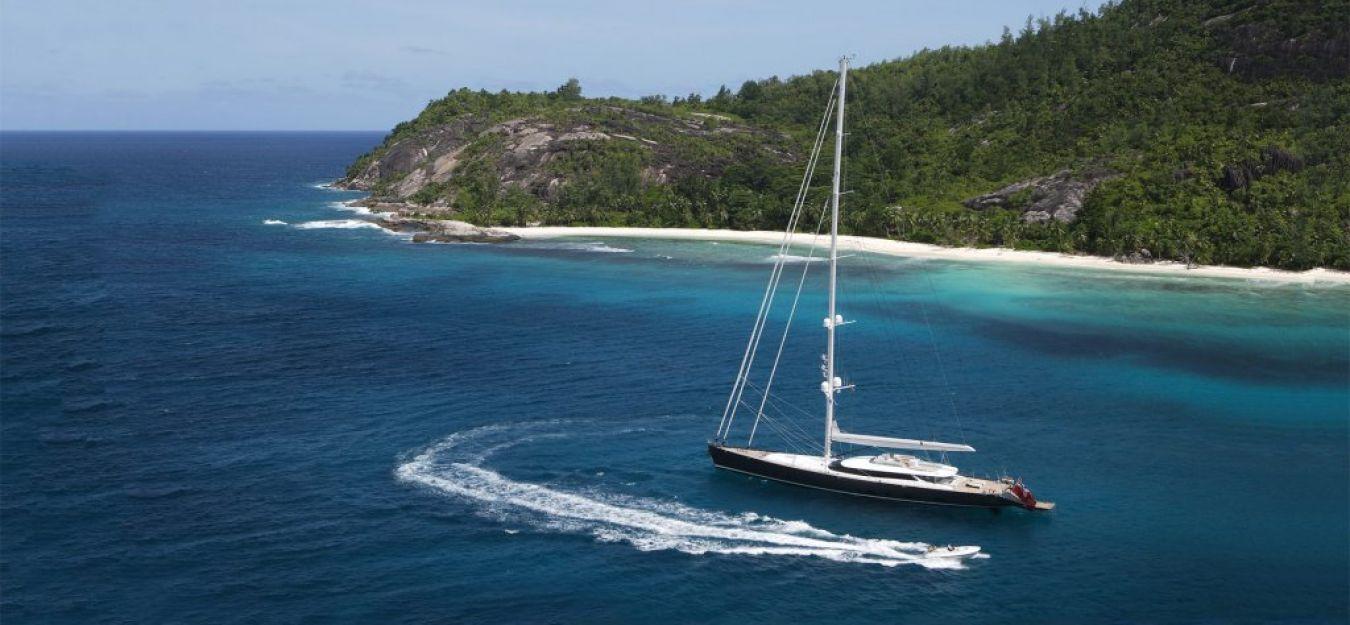 Yacht PANTHALASSA By Perini Navi - Moored In The Caribbean