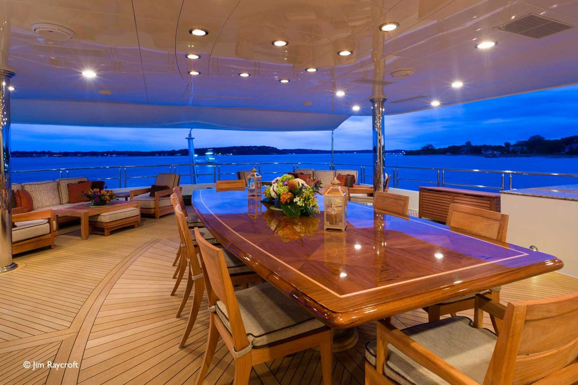 Yacht Skyfall By Trinity - Aft Outsdie Dining Evening