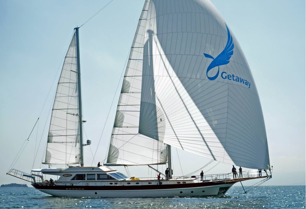 Gulet Getaway Spinnaker Sailing In Turkey