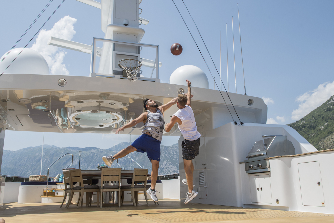 Playing Basketball On Deck Of Yacht Skyfall