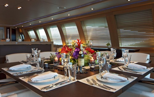Eating/dining Aboard Yacht ESCAPE II
