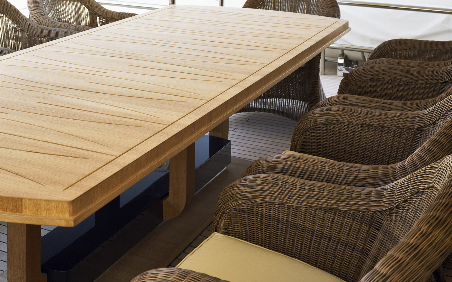 Close Up: Yacht DREAM ON's Furniture Pictured
