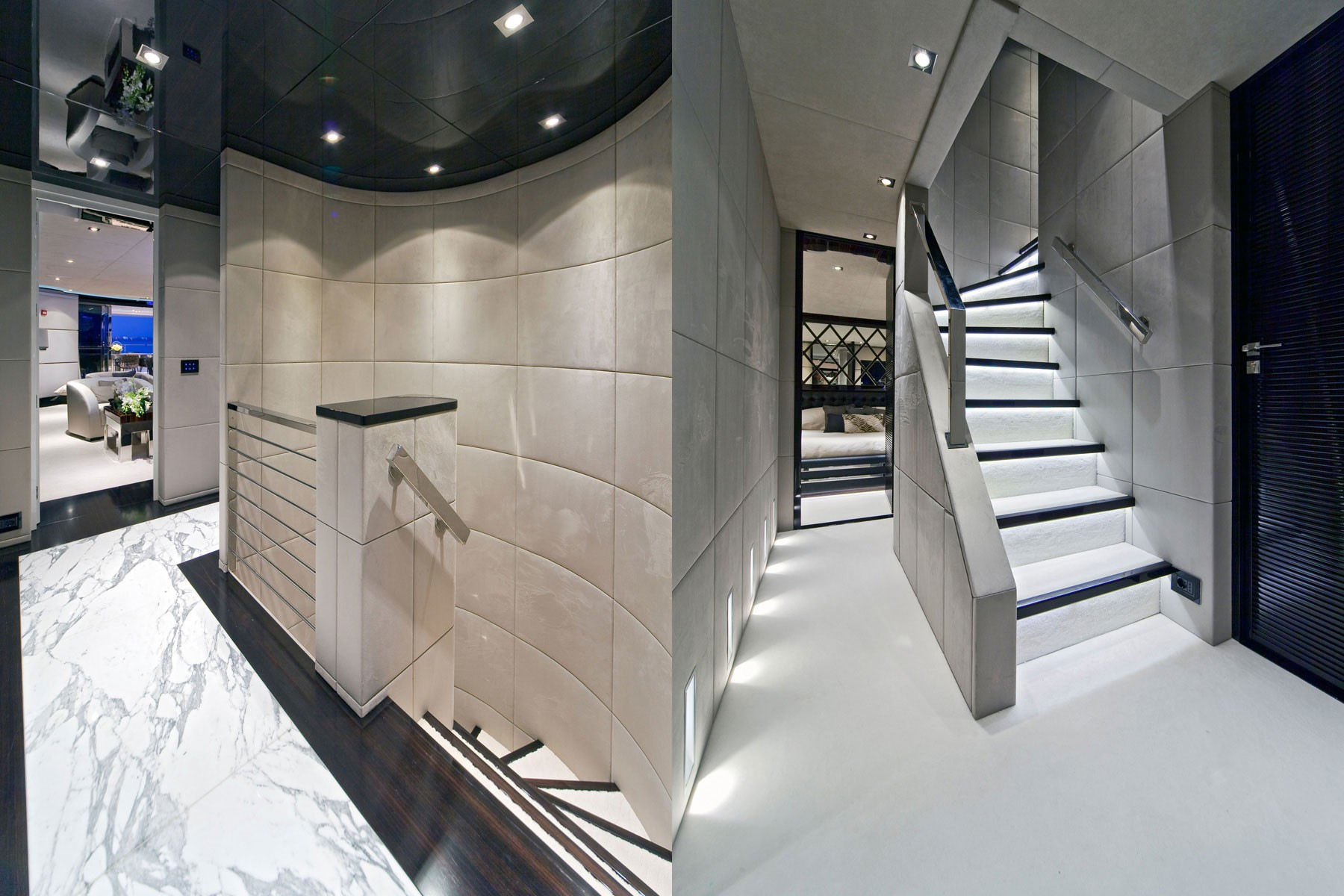 Hall With Staircase On Board Yacht MANIFIQ