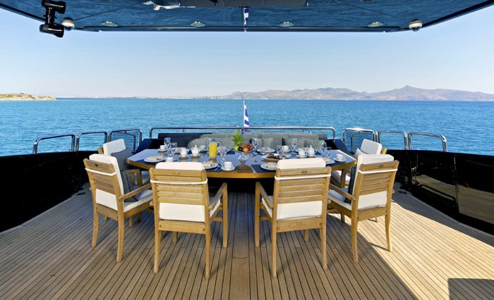Aft Deck Eating/dining Aboard Yacht O'PATI