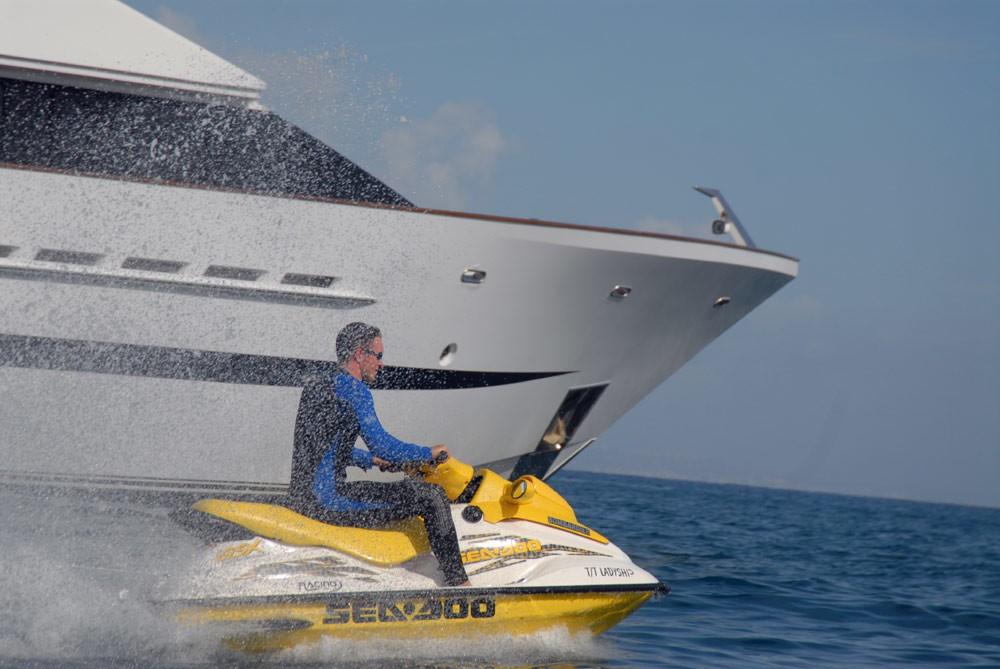 Jetski Skiing Aboard Yacht LADYSHIP