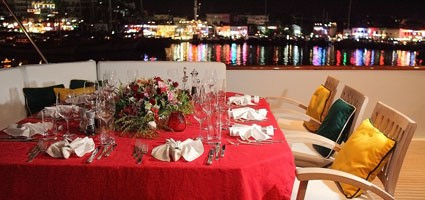 Eating/dining On Board Yacht LADYSHIP