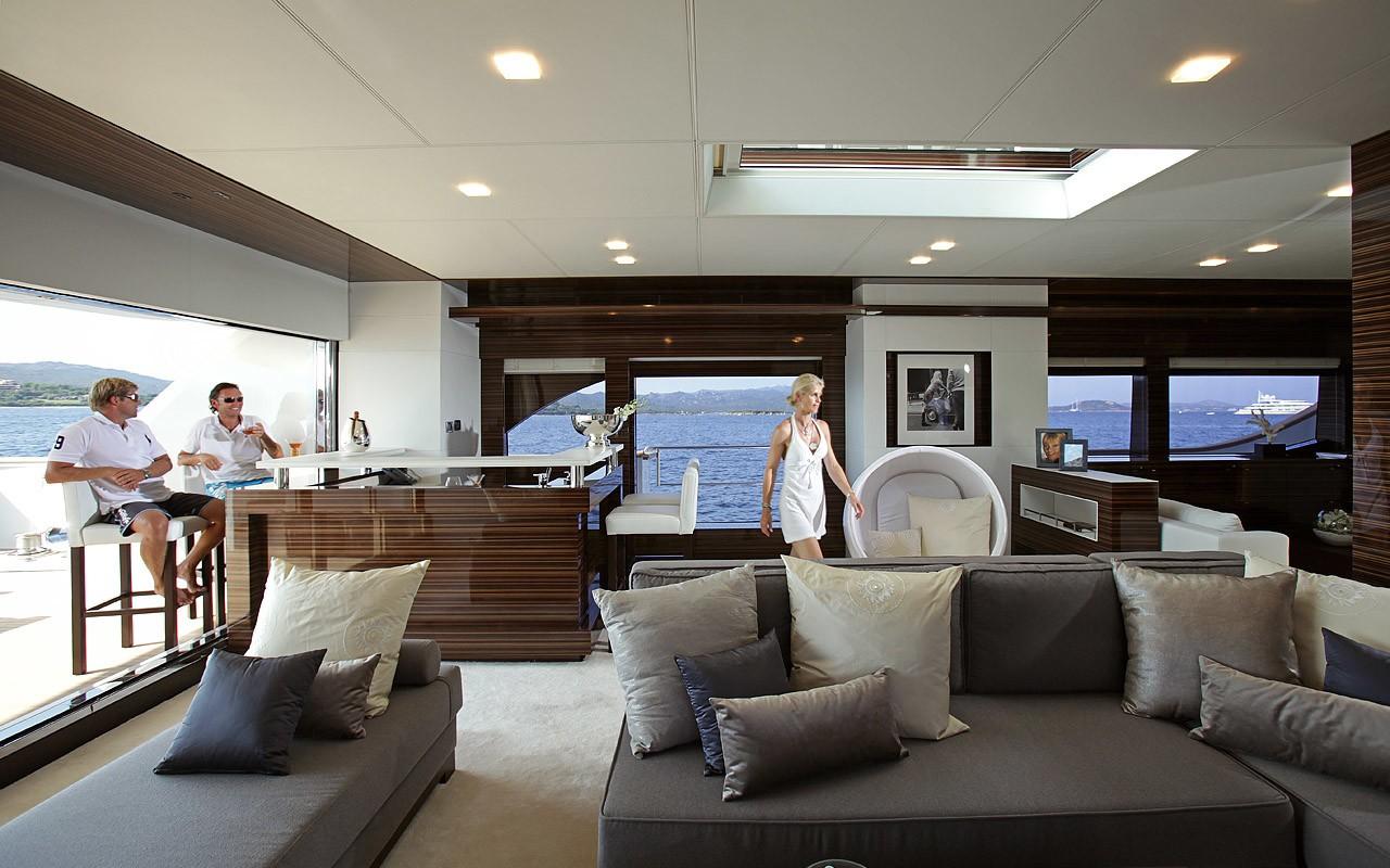 Saloon With Drinks Bar Aboard Yacht TATII