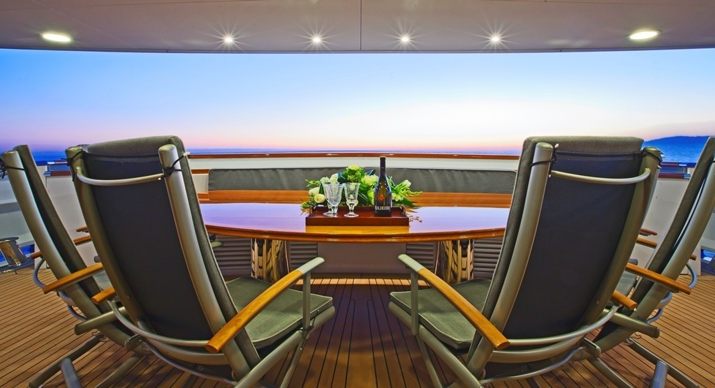 Premier Aft Deck Aboard Yacht AXANTHA II