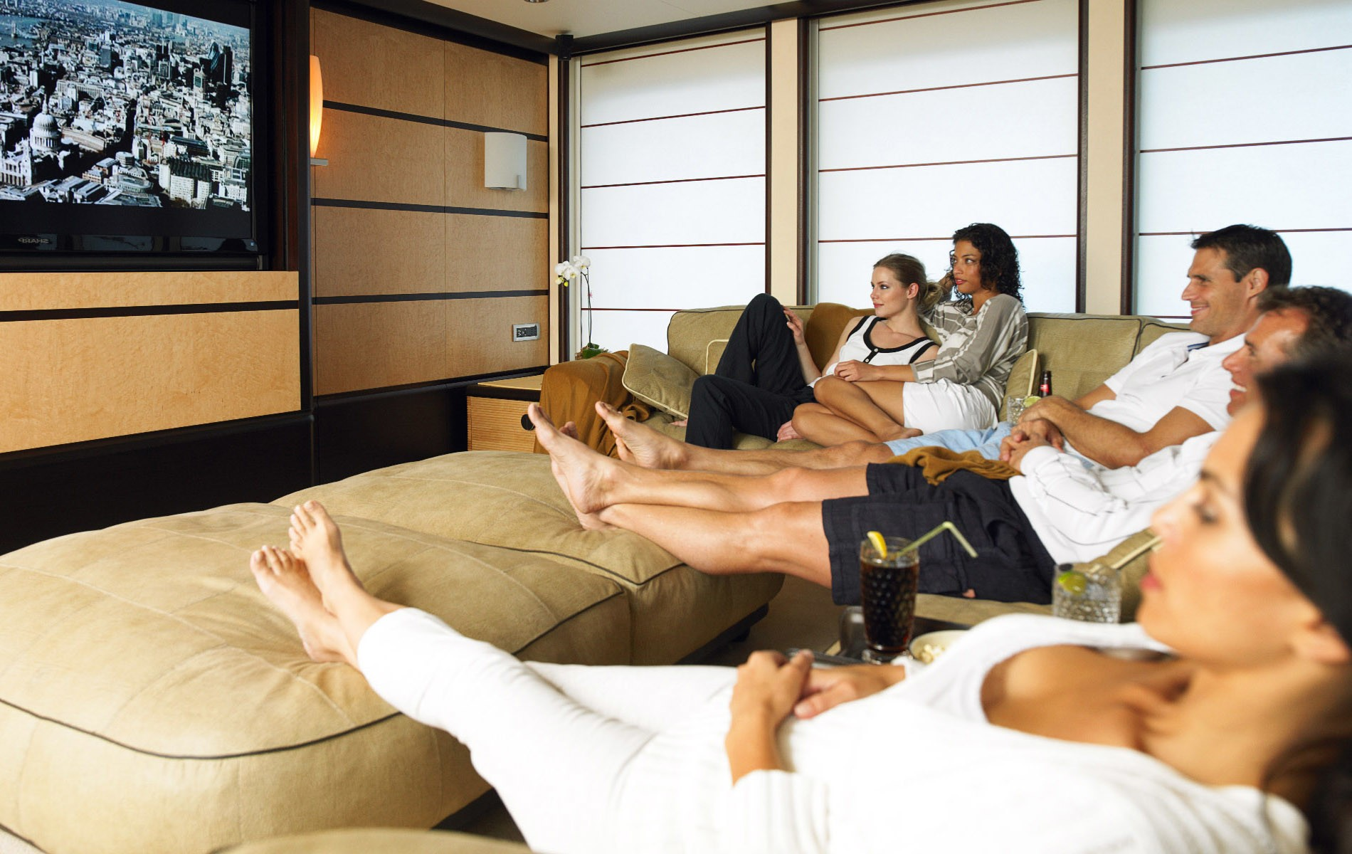 Movie Cinema In Premier Saloon On Board Yacht HARLE
