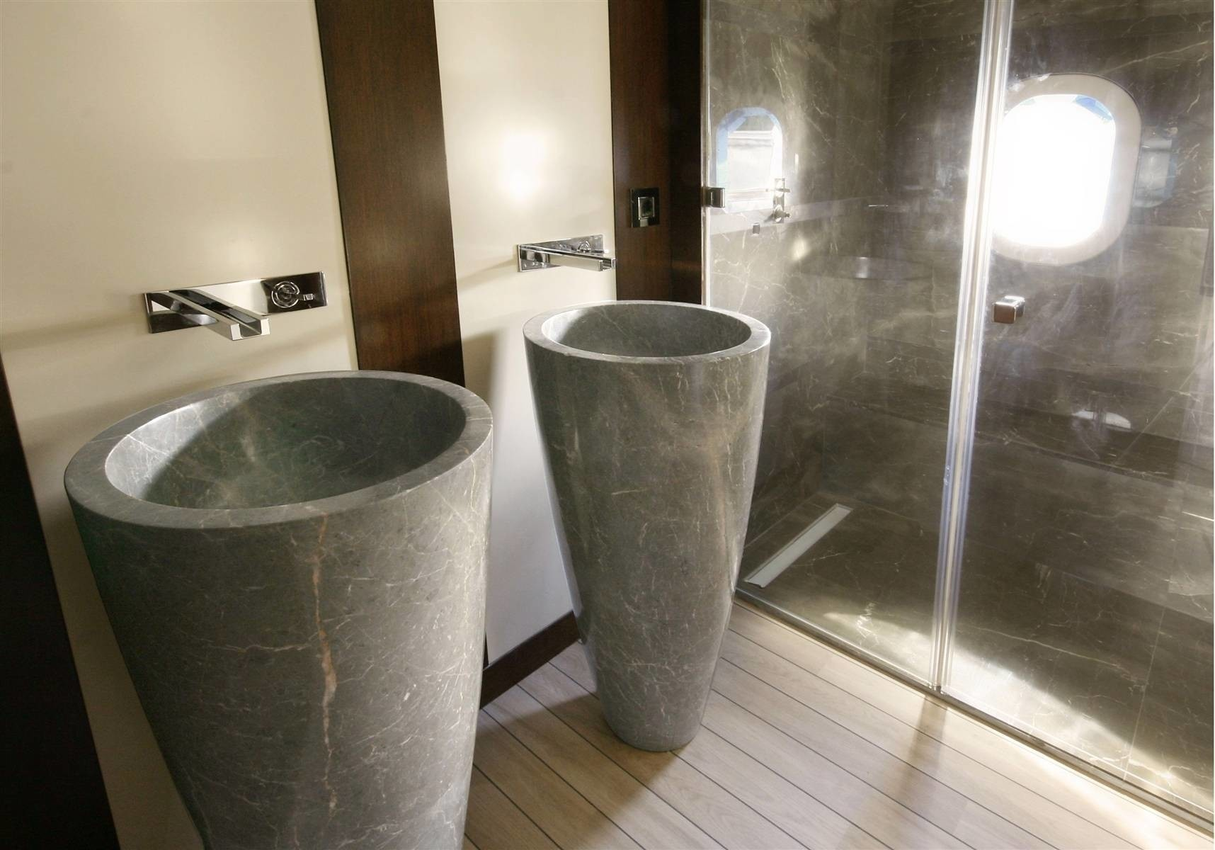 Detail: Yacht INFINITY's Guest's Bath Pictured