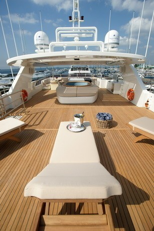 Sunshine Lounging With Jacuzzi Pool On Board Yacht TATIANA