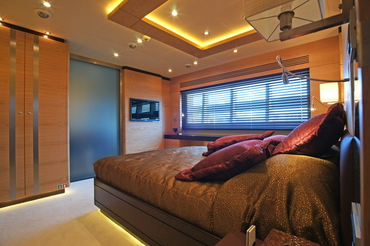 Berth: Yacht TATIANA's Brown Guest's Cabin Photograph