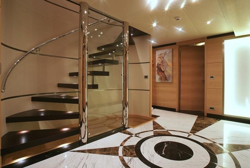 Lobby With Stairway Aboard Yacht TATIANA