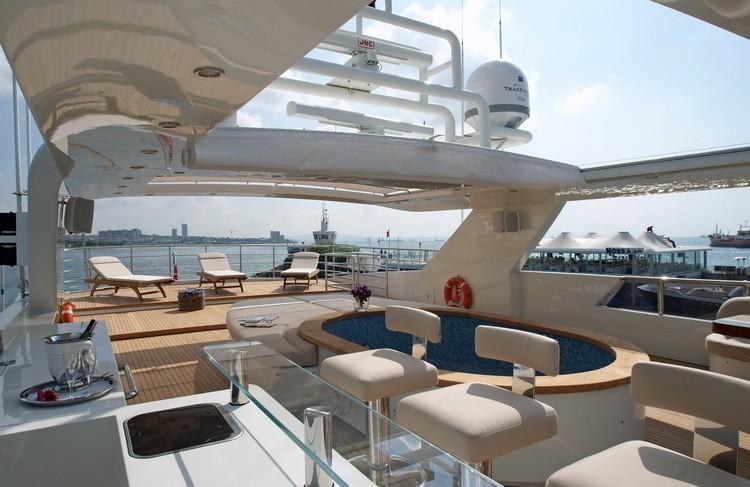 Drinks Bar With Jacuzzi Pool Aboard Yacht TATIANA