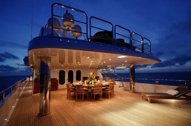 Evening: Yacht TOP FIVE's External Eating/dining Pictured