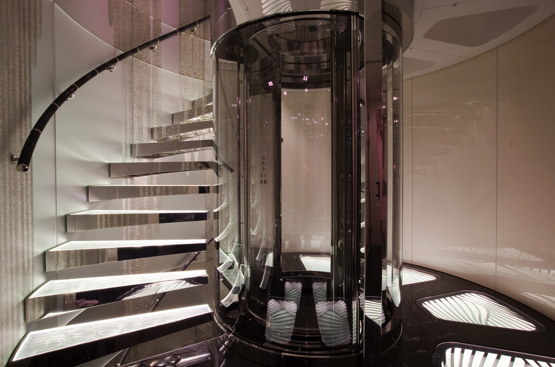 Elevator With Stairway On Yacht QUITE ESSENTIAL