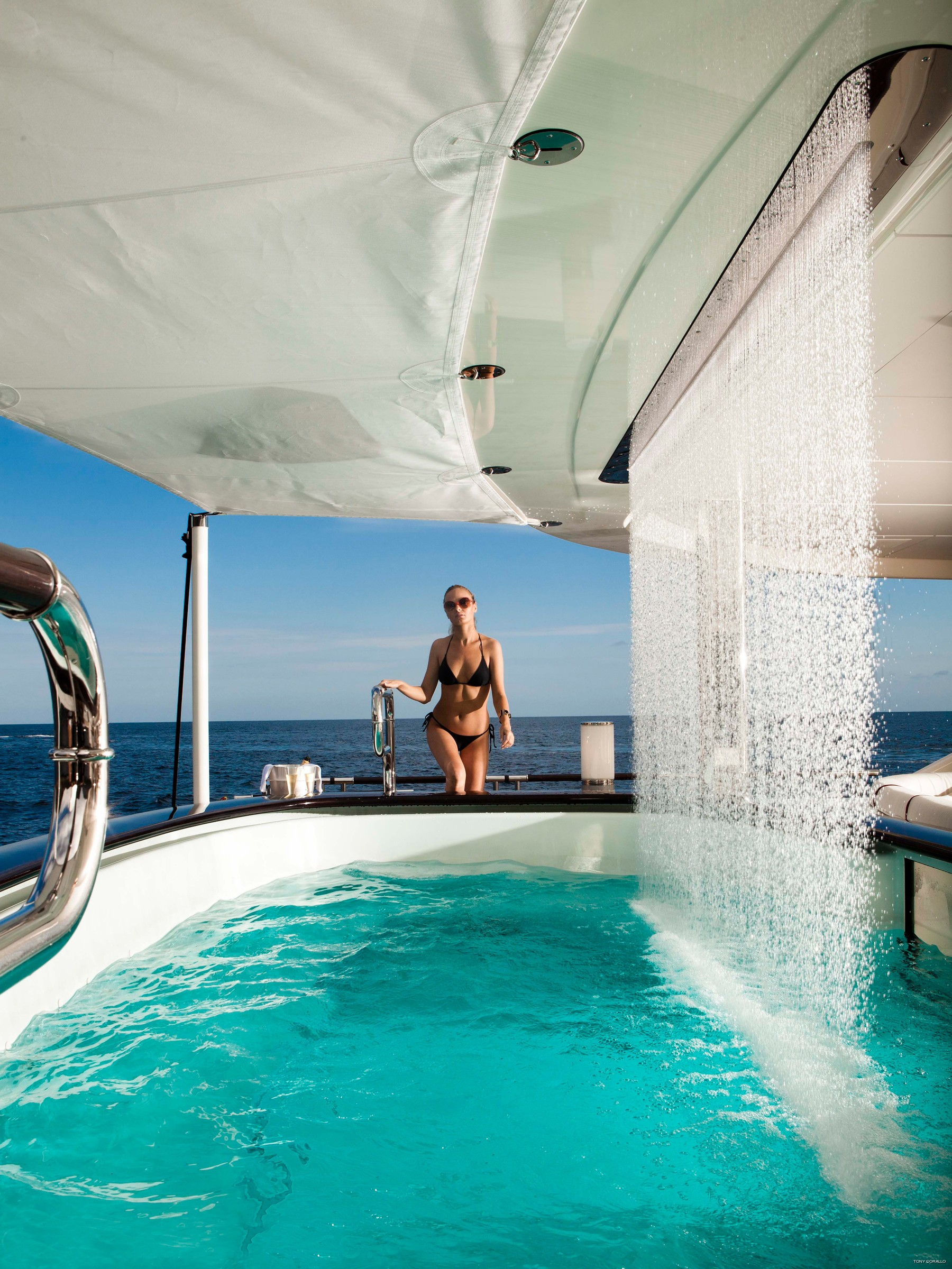Swimming Pool Including Waterfall On Board Yacht QUITE ESSENTIAL