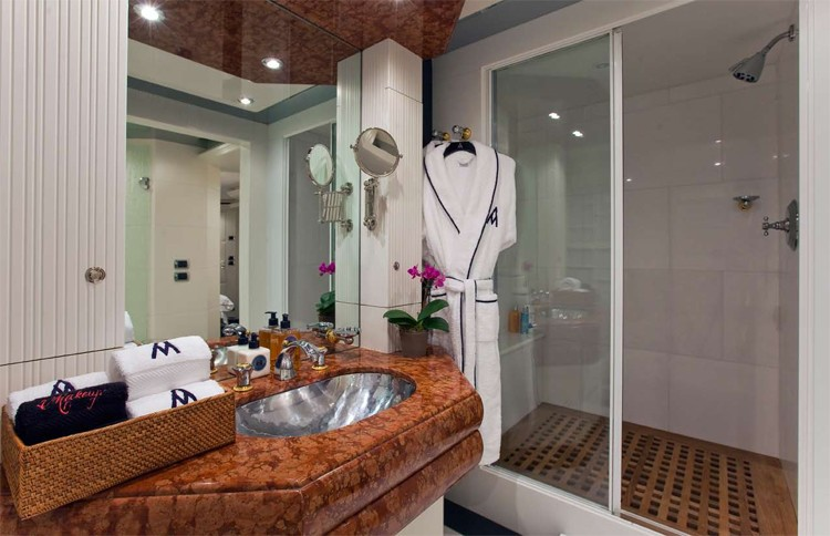 Lower Double Sized Guest's Bath On Board Yacht DIAMOND A