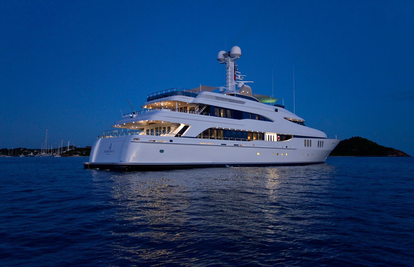 Evening: Yacht DIAMOND A's Aft Aspect Pictured