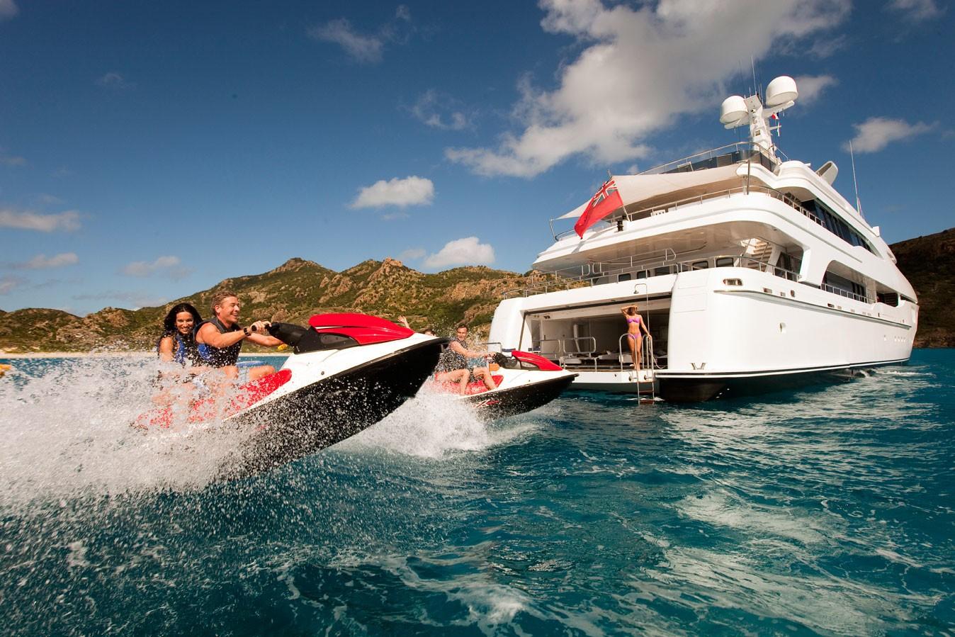 Jetski Skiing On Board Yacht DIAMOND A