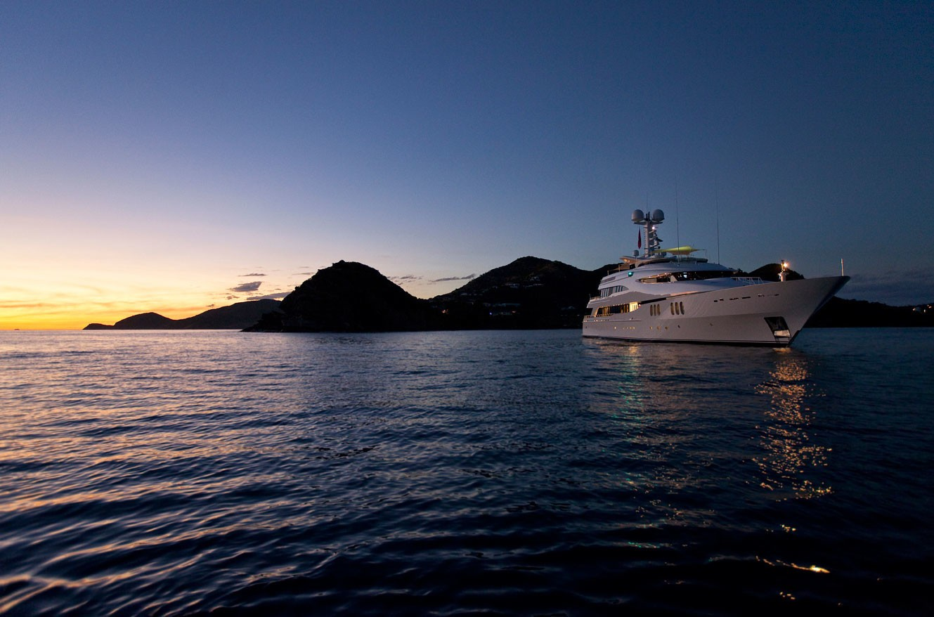 Sunset Dusk Overview On Yacht DIAMOND A