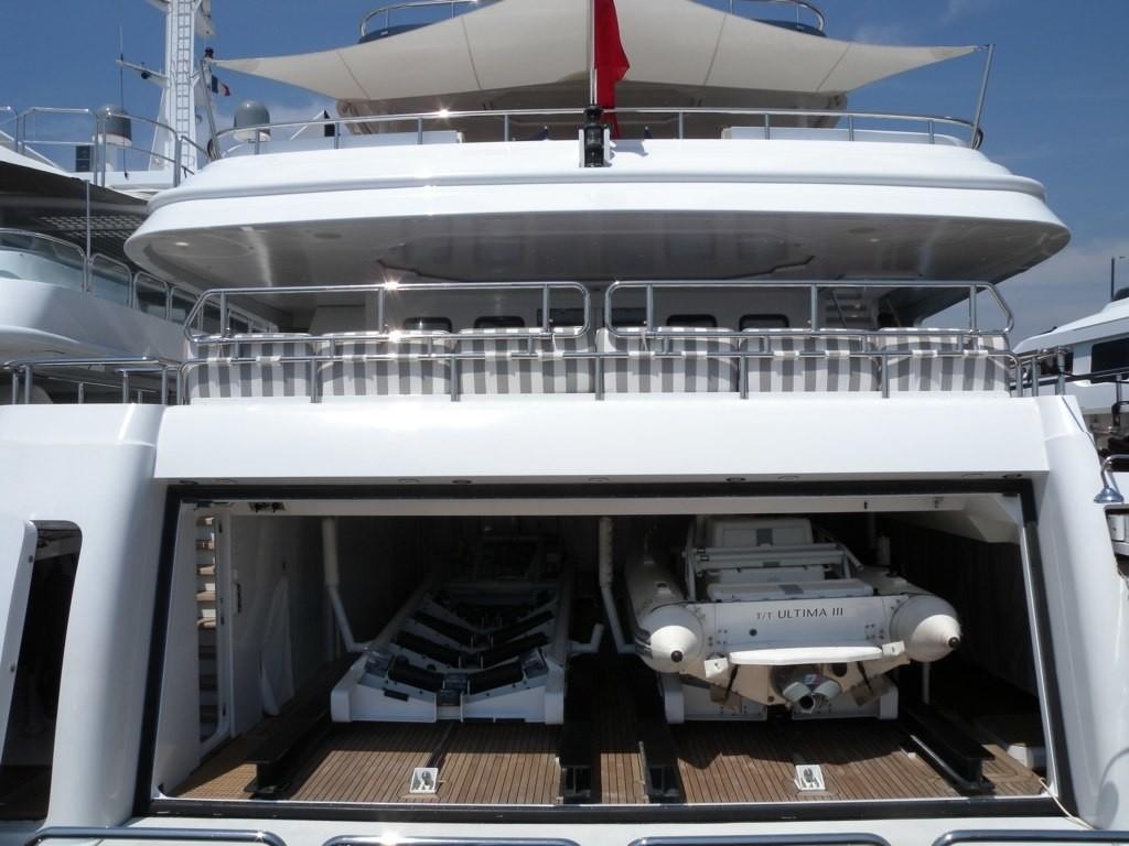 Ship's Tender Storage Open On Yacht DIAMOND A