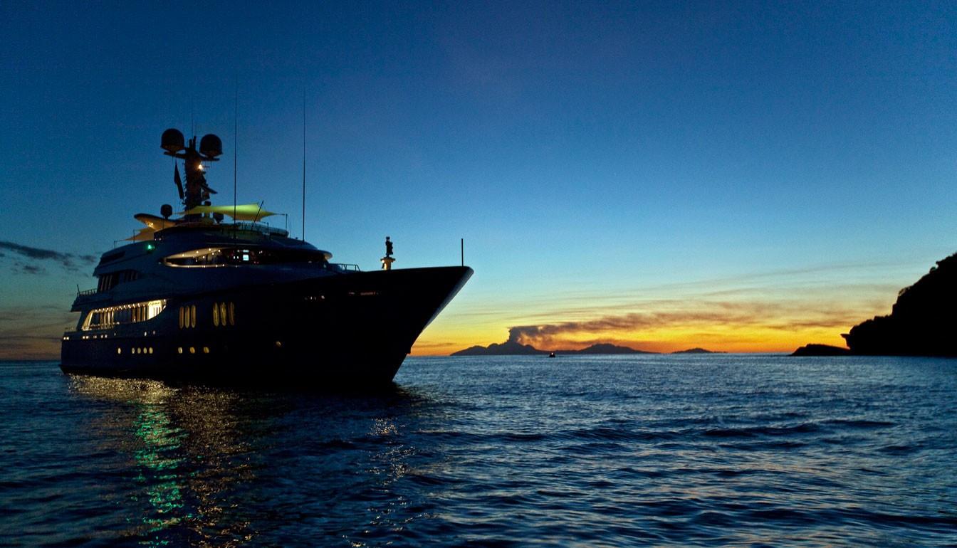 Sunset Dusk: Yacht DIAMOND A's Forward Aspect Captured