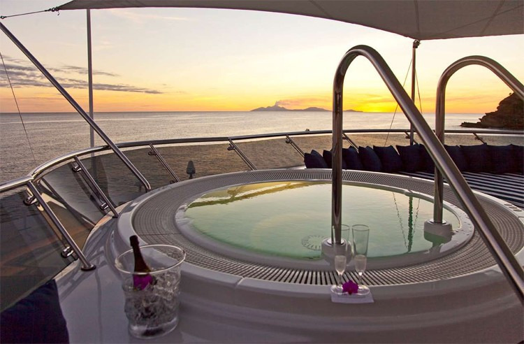 Sunset Dusk: Yacht DIAMOND A's Jacuzzi Pool Pictured